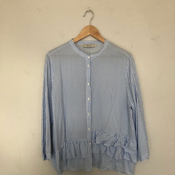 Zara Tops - Zara Seersucker Button Up Blouse with Ruffle Hem